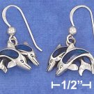 STERLING SILVER 11X16MM DOUBLE JUMPING DOLPHINS W/PAUA SHELL INLAY  EARRINGS.