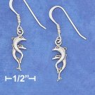 STERLING SILVER MINI 7X15MM DOUBLE DOLPHIN FRENCH WIRE EARRINGS