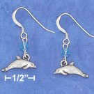 STERLING SILVER ANTIQUED DOLPHIN EARRINGS