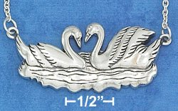 """STERLING SILVER 16""""-18""""  SWIMMING SWANS NECKLACE."""