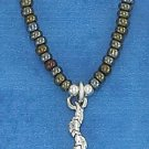 "STERLING SILVER 16"" CHOKER W/ BROWN & GRAY PONY BEADS &   SNAKE PENDANT"