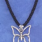 "STERLING SILVER 16"" CHOKER W/ BLACKPONY BEADS &  OPEN BUTTERFLY PENDANT"