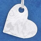 """STERLING SILVER 18"""" PENDANT CHAIN W/ LASER ETCHED HEART DISK"""