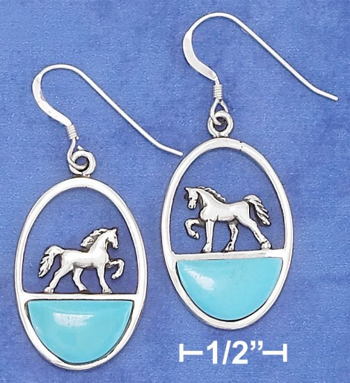 STERLING SILVER  EARRINGS With WALKING HORSE AND TURQUOISE INLAY.
