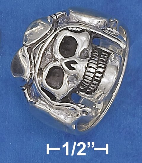 STERLING SILVER HIGH POLISH AND ANTIQUED  SKULL RING