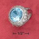 ESTATE STYLE STERLING SILVER    5 CT ROUND SYNTHETIC BLUE TOPAZ RING   .