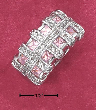 STERLING SILVER PINK ICE PRINCESS CUT CZ RING WITH CLEAR CZ BASKET WEAVE BANDS.