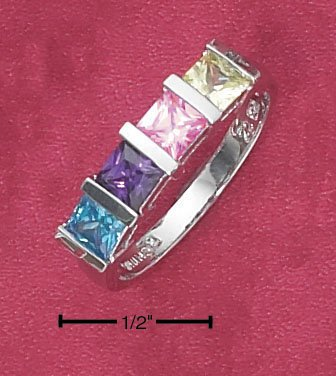 STERLING SILVER RHODIUM PLATED SIMPLE TENSION SET RAINBOW PRINCESS CUT CUBIC ZIRCONIA RING.