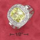 STERLING SILVER 5CT  GREEN APPLE CZ RING W/ PAVE/BEADED SETTING .