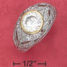 STERLING SILVER RP FILIGREE PAVE DOME RING WITH VERMEIL BEZEL SET 2CT ROUND CZ.