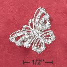 STERLING SILVER   BEADED CZ 21MM BUTTERFLY RING .