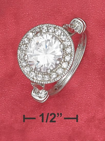 6ESTATE STYLE STERLING SILVER 6 2.75CT ROUND CZ RING