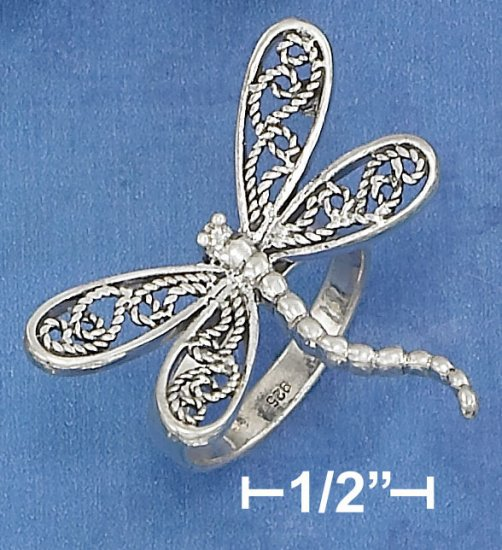 STERLING SILVER  DRAGONFLY RING WITH FILIGREE WINGS AND CURVED BODY.