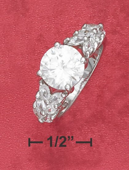 BEAUTIFUL STERLING SILVER RHODIUM PLATED 2.75CT ROUND CZ RING WITH MULTI MARQUISE SIDE CZ'S.