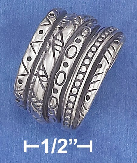 STERLING SILVER ANTIQUED 15MM SOUTHWEST DESIGN 6 BAND ILLUSION STACK RING