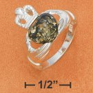 STERLING SILVER CLADDAGH RING  W/ GREEN AMBER HEART.