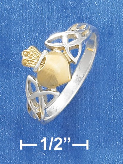 STERLING SILVER AND 14K GOLD  TWO-TONE CROWN HEART RING