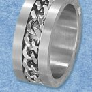STAINLESS STEEL BRUSHED 10MM BAND WITH INSET CHAIN LINK