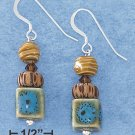 STERLING SILVER 10MM BLUE GLASS CUBE W/ WOOD & AUSTRIAN CRYSTAL BEAD FW EARRINGS