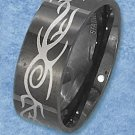 STAINLESS STEEL BLACK 8MM MENS TRIBAL BAND WITH SCROLLED DESIGN