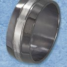 STAINLESS STEEL BLACK 9MM MENS WEDDING BAND WITH BRUSHED CENTER STRIPE