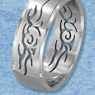 STAINLESS STEEL MENS 8MM BRUSHED BAND WITH CUT-OUT TRIBAL DESIGNS