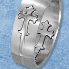 STAINLESS STEEL 8MM SATIN MEN'S BAND W/ 2 HP CROSSES ATTACHED W/LINE