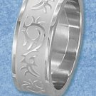 STAINLESS STEEL 8MM BAND WITH SATIN STRIPE AND RAISED TRIBAL PATTERN