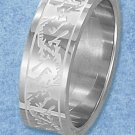 STAINLESS STEEL 8MM BAND W/SATIN INNER STRIPE AND DOUBLE DRAGON DESIGN