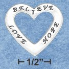 "STERLING SILVER ""LOVE, BELIEVE, HOPE"" TRIO AFFIRMATION OPEN HEART CHARM - 24MM WIDE"