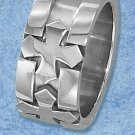 STAINLESS STEEL 11MM MENS TRIPLE CROSS RING WITH SUNKEN CENTER CHANNEL