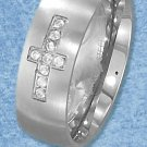 STAINLESS STEEL MENS 8MM BRUSHED BAND WITH CROSS COMPRISED OF CZ'S