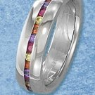 STAINLESS STEEL 6MM HIGH POLISH BAND WITH CHANNEL SET COLORED CZ'S