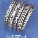 STERLING SILVER ANTIQUED 15MM SOUTHWEST DESIGN 6 BAND ILLUSION STACK RING .