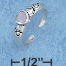 """STERLING SILVER HIGH POLISH """"I HEART YOU"""" TOE RING WITH 4MM PINK MOP HEART"""
