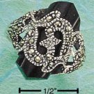 STERLING SILVER MARCASITE W/ FACETED ONYX POINT RING