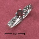 STERLING SILVER DAINTY GENUINE GARNET RING