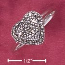 STERLING SILVER TIERED MARCASITE HEARTS RING