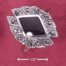 STERLING SILVER DIAMOND SHAPE GENUINE ONYX RING