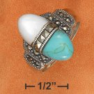 STERLING SILVER TURQUOISE/MOP/MARCASITE  RING