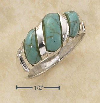 STERLING SILVER FANCY SHRIMP RING WITH TURQUOISE STONES