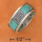 STERLING SILVER TURQUOISE & MARCASITE W/ 8MM BAND RING