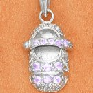 STERLING SILVER JUNE LARGE MOONSTONE COLORED CZ BIRTHSTONE BOOTIE CHARM