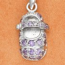 STERLING SILVER FEBUARY LARGE AMETHYST COLORED CZ BIRTHSTONE BOOTIE CHARM
