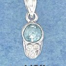 STERLING SILVER MARCH CUBIC ZIRCONIA BIRTHSTONE BOOTIE CHARM
