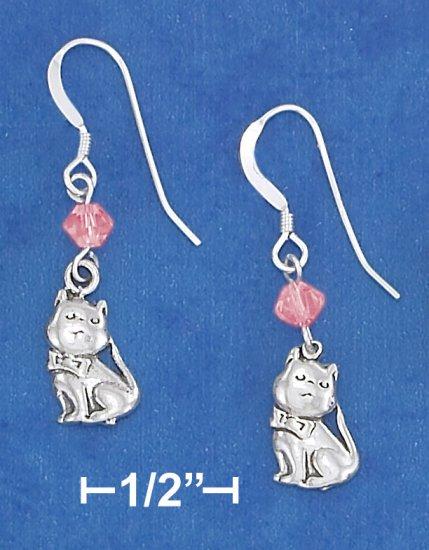 STERLING SILVER ANTIQUED CAT EARRINGS
