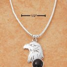 "STERLING SILVER 16"" LIQUID SILVER NECKLACE W/ EAGLE HEAD ONYX DOT & FEATHERS"