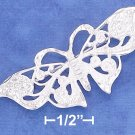 STERLING SILVER SATIN & DIAMOND CUT FILIGREE 20X45MM BUTTERFLY PIN