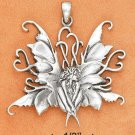 """STERLING SILVER LARGE 1 1/2"""" ANTIQUED SITTING FAIRY PENDANT"""