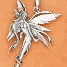 "STERLING SILVER LARGE 1 3/4"" ANTIQUED FLOATING FAIRY PENDANT"